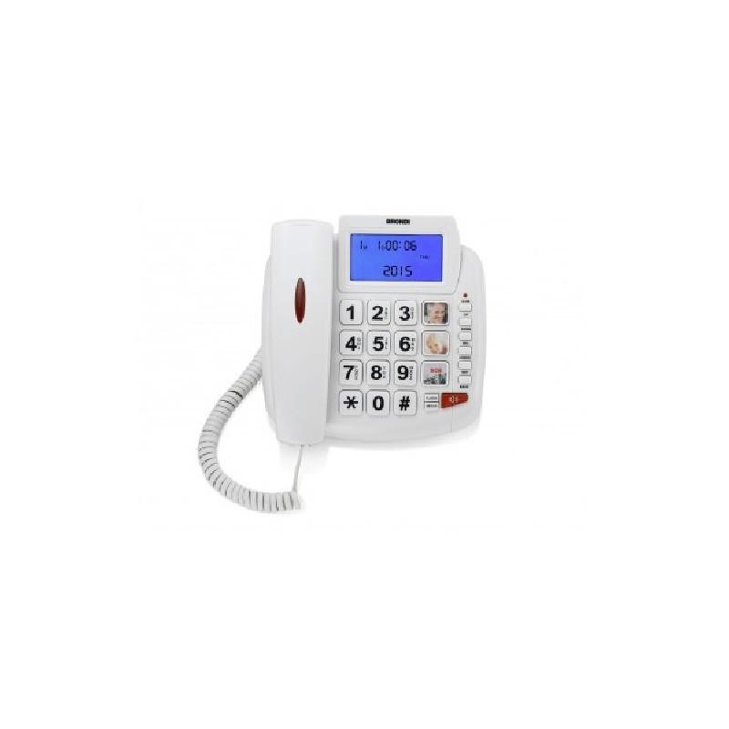 BRONDI BRAVO 90 White,  ITALIA, LCD, tasti extra large, vivavoce, 3 mem. Dirette, tasto rp