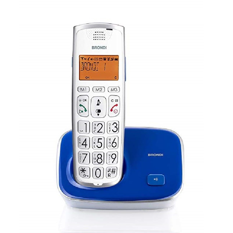 BRONDI BRAVOGOLD 2 ,Tasti Grandi BLU/VIOLA TELEFONO CORDLESS