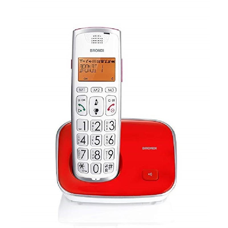 BRONDI BRAVOGOLD 2 ,Tasti Grandi ROSSO TELEFONO CORDLESS