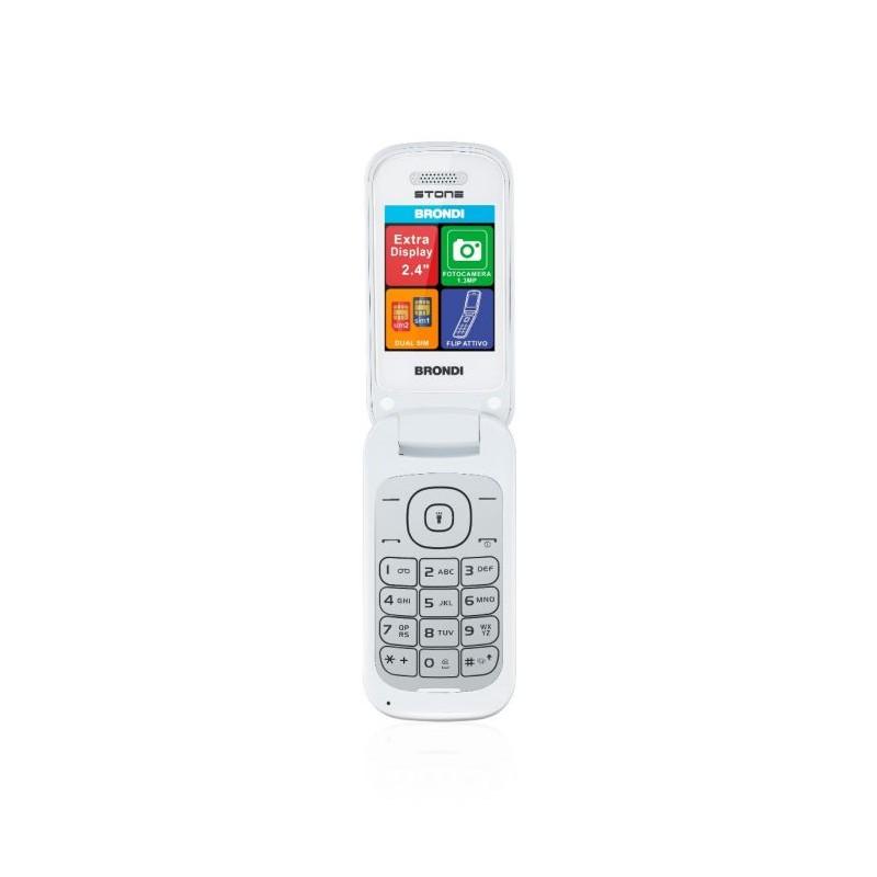 BRONDI STONE ITALIA Bianco Dual Sim, LCD 2,4, Fotocamera 1.3 mpx, Memoria Espandibile, Apertura a FLIP