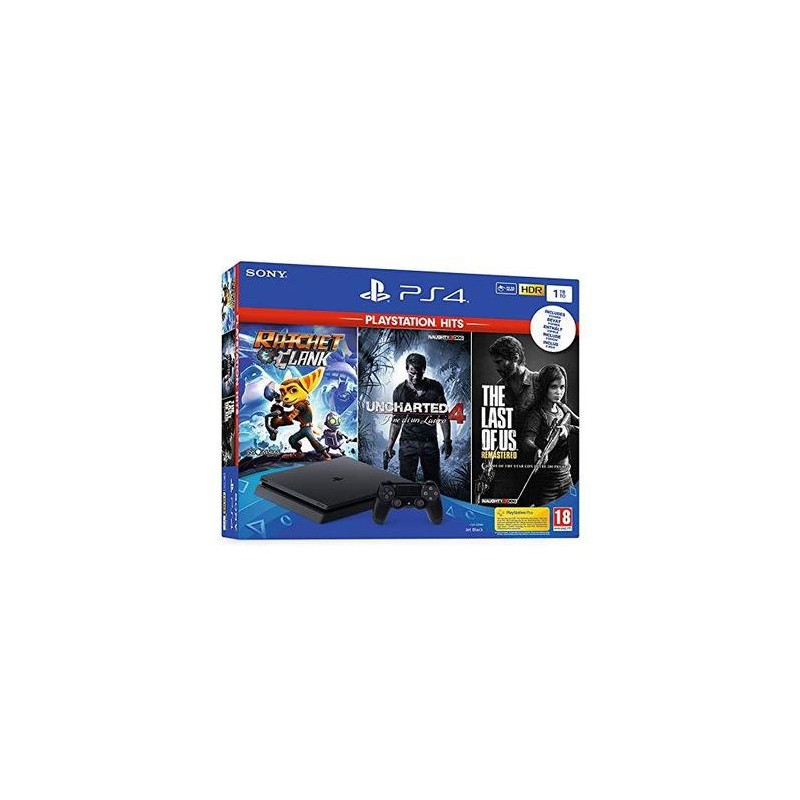 SONY Playstation 4 Slim 500GB F Chassis + Rachet & Clank + The Last Of Us + Uncharted 4