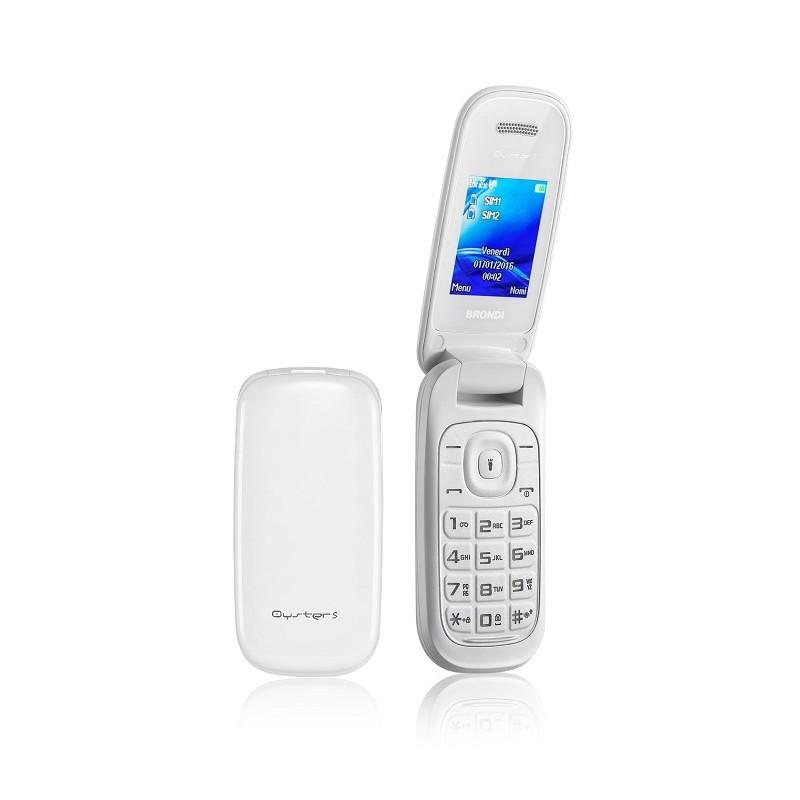 BRONDI OYSTER S ITALIA White, Dual Sim, LCD 1.8, Fotocamera 1.3 mpx, Memoria Espandibile, Apertura a FLIP
