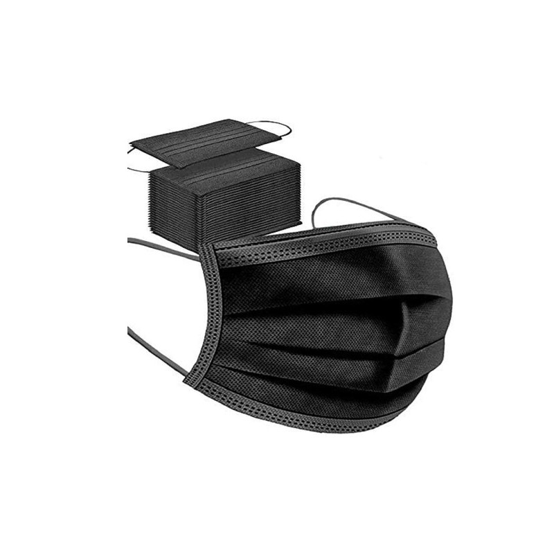 Mascherina 3 Veli Pacco da 50pz Black