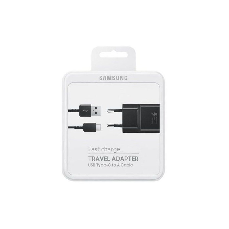 SAMSUNG CARICABATTERIE, EP-TA20 FAST CHARGER + CAVO TYPE C NERO CON BLISTER