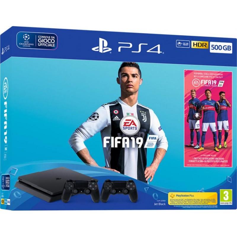SONY PlayStation 4 500GB + FIFA19 + 2 Controller + Codice Promo Fifa