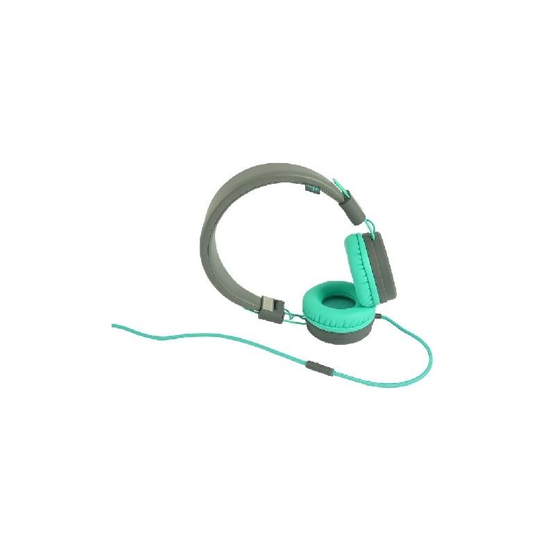WIKO CUFFIA WiSHAKE Grey/Bleen con Microfono e Tasto di risposta, attacco jack 3,5 cavo in cotone colorato
